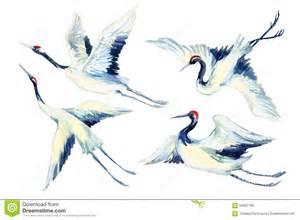 ensemble asiatique d oiseau de grue d aquarelle