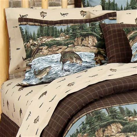 cabin themed bedding river fishing sheet sets rustic theme for cabin or lodge