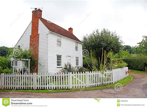 White Country Cottages by Pretty White Kent Country Cottage Royalty Free Stock Photo