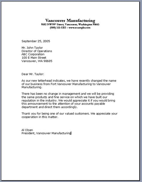 letter to a business format business letter format sles of business