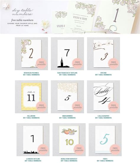 printable table number templates 5 best images of free printable wedding table numbers