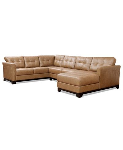 macys chaise martino leather 3 piece chaise sectional sofa furniture
