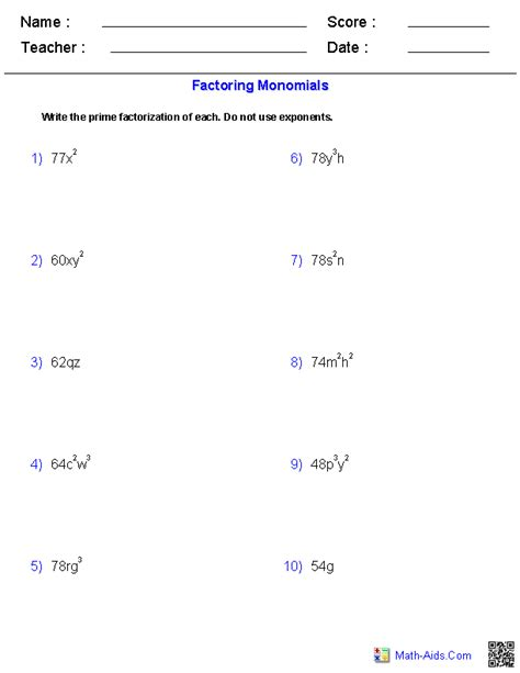 Prealgebra Worksheets by Pre Algebra Worksheets Monomials And Polynomials Worksheets
