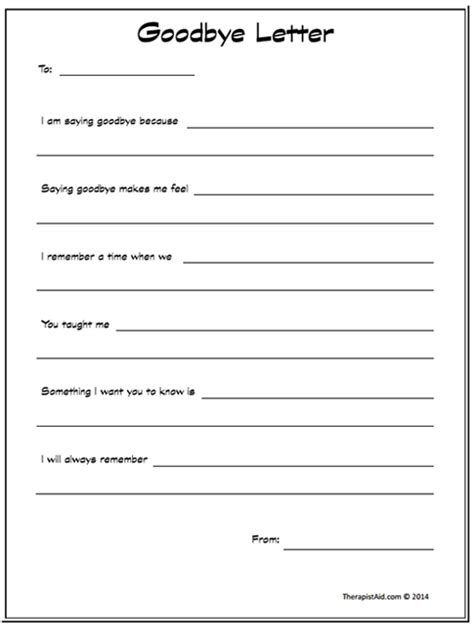 Goodbye Letter Worksheet Therapist Aid Grief Letter Template