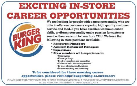 Burger King Team Member Resume Burger King Jobs