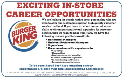 Scholarship Resume Sample by Burger King Sa In Store Job Opportunities Luckysters