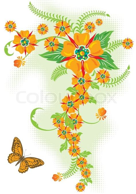 Log Home Design Plans by Decorative Floral Border With Butterfly Vector