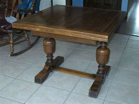 Antique English Oak Draw Leaf Pub Dining Table #