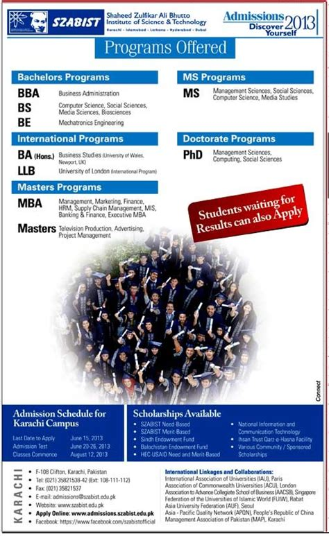 Szabist Mba Admission 2017 by Szabist Admission 2017 Bba Bs Be Ba Llb Mba Ms Phd
