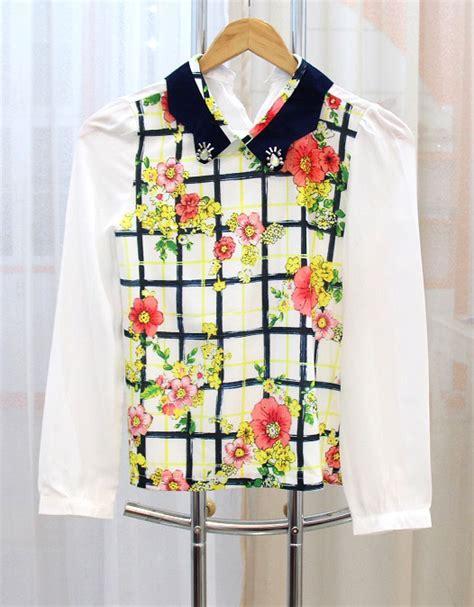 blouse wanita motif bunga cantik model terbaru jual murah import kerja