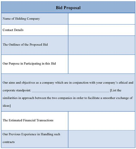 business bid template template for bid exle of bid template