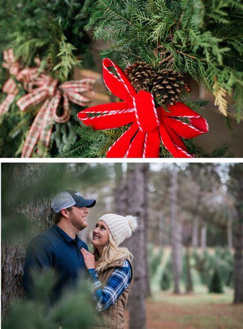 merry christmas tree farm engagement shoot in