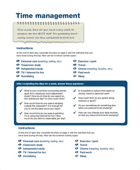 time management template sle time management 7 documents in word pdf
