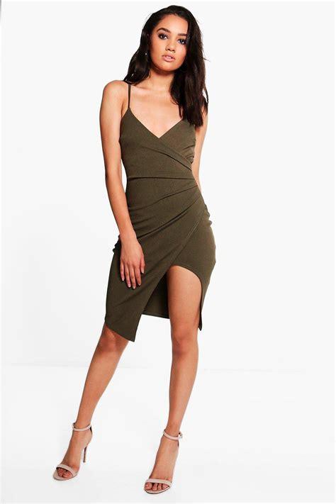 Dress Asymetric boohoo womens kara strappy wrap asymmetric dress ebay