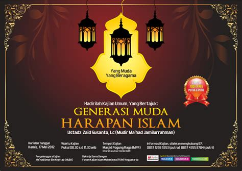 desain brosur islami desain poster kajian umum generasi muda harapan islam
