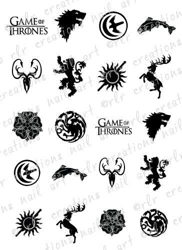 waterslide tattoo paper uk 20 nail decals game of thrones house sigil crests