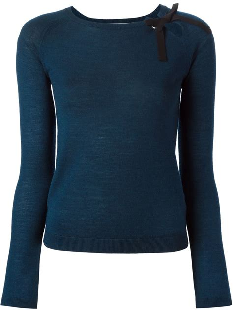 Bow Sweater valentino bow detail sweater in blue lyst