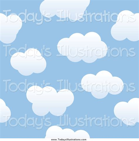 free cloud pattern background clipart of a seamless blue sky and puffy cloud background