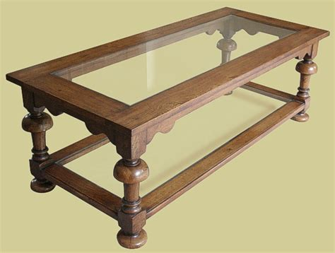 period style oak coffee table with glass top potboard