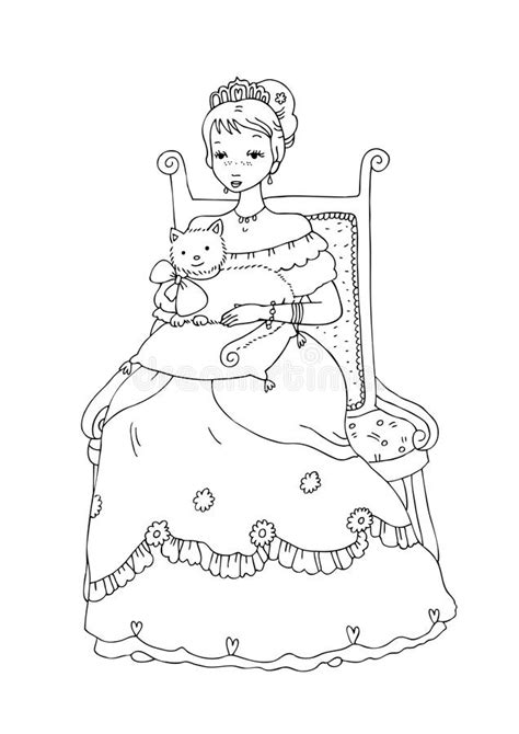 princess  cat coloring page stock illustration
