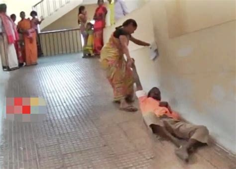 Dragging On Floor by Shocking Who Was Denied Stretcher Drags Sick