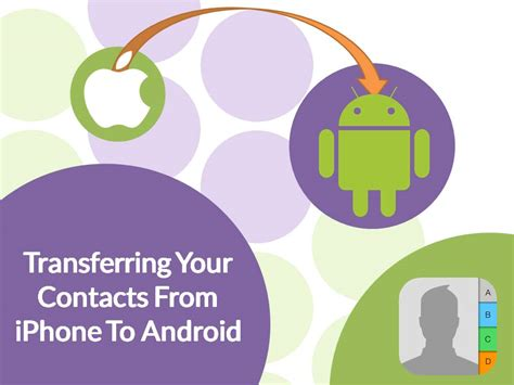 transferring contacts from android to iphone how to transfer contacts from an iphone to an android