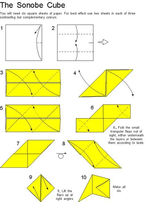 printable origami cube instructions mathsworkbook1eso sonobe cube