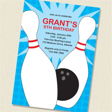 items similar to blue bowling party birthday invitation