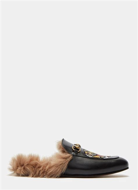 bottom loafers just to compliment the mink lyst gucci s princetown tiger embroidered fur slip