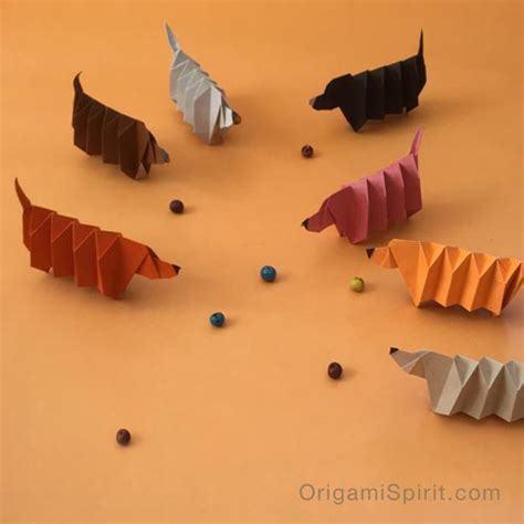 Origami Weiner - origami version of slinky a dachshund