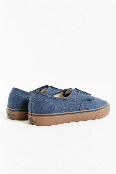 Vabs Authentic Navy Sole Gum vans authentic washed gum sole sneaker in blue for lyst