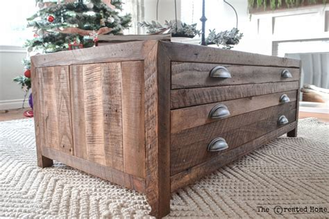 wooden coffee table with drawers plans ana white reclaimed wood coffee table with printmaker