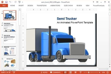 Animated Freight Truck Powerpoint Template Truck Transport Website Templates Free