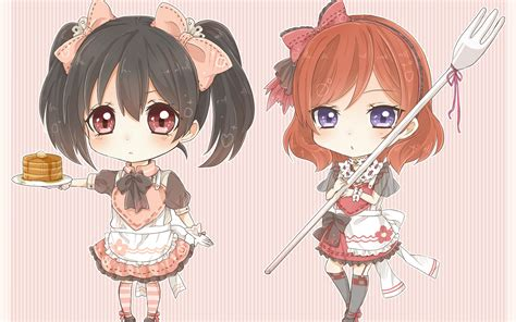 anime maid hairstyles nishikino maki yazawa nico full hd wallpaper and