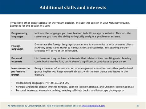 skills and interests resume exles mckinsey resume sle