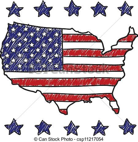 doodle 4 united states clipart vector of patriotic map of the united states