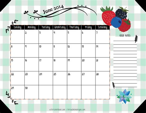 printable calendar days free printable june 2014 calendar terri s notebook