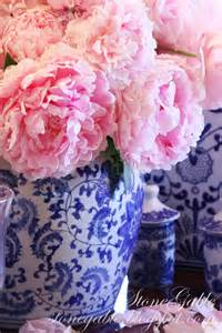 Peony Pink White and Blue