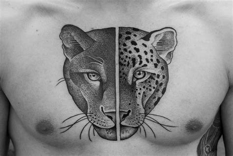 panther face tattoo designs chest cover up with half dotwork panther and tiger