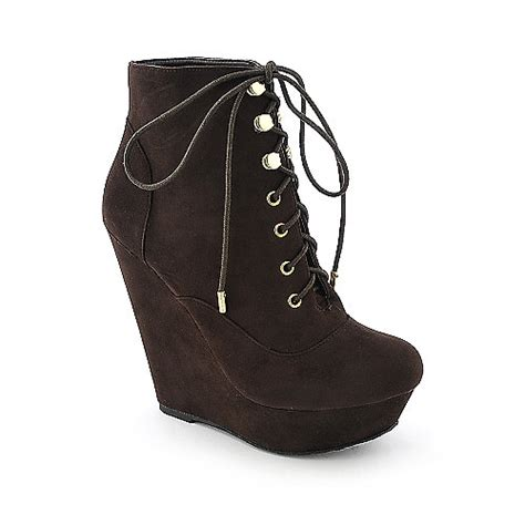 doll house boots dollhouse star womens brown platform wedged ankle boot