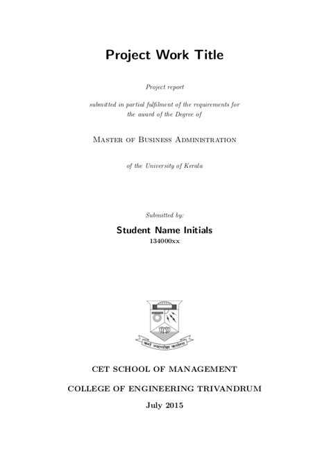U Of R Mba Requirements by Project Template Sle Kerala Mba