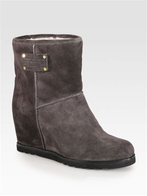 marc by marc suede wedge boots in gray grey lyst