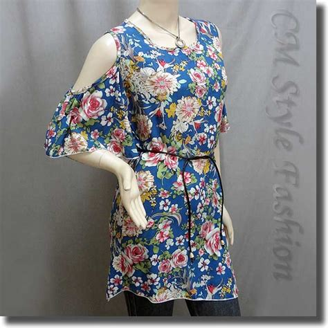 Flowery Tunic bare shoulder flowery flutter sleeve tunic top blue