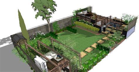 a modern garden design presentation split level earth