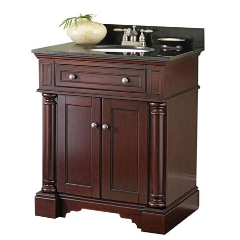 shop allen roth albain auburn undermount single sink bathroom vanity  granite top actual