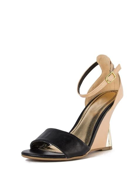 Wedges Gloss Gold color block gold wedge sandals 2020ave