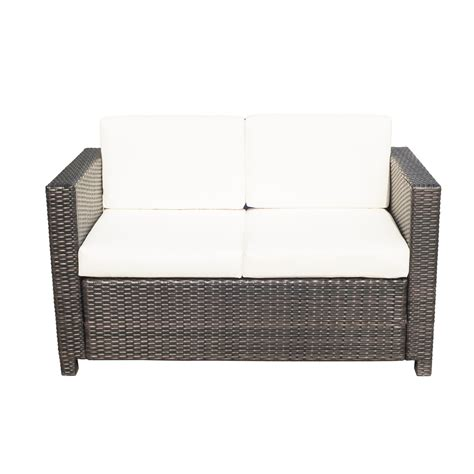 wicker sofa cushions outsunny rattan sofa chair 2 seater garden patio furniture