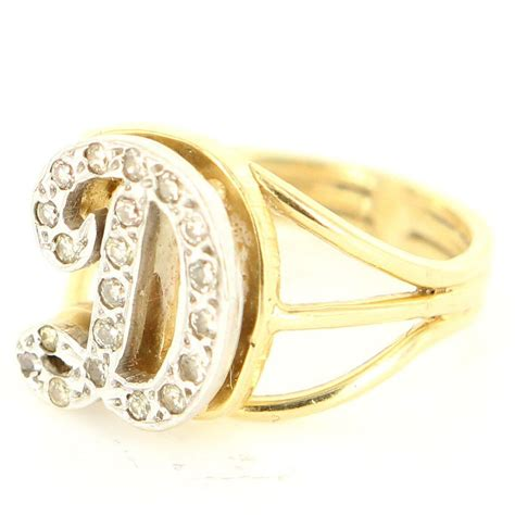 d gold ring vintage 14 karat yellow gold letter d initial
