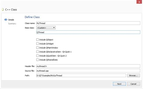 Qthread Tutorial In Qt | qt creator how to add a new c class that inherits from