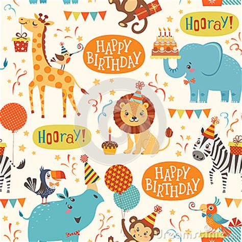 pattern birthday cute happy birthday animals pattern stock vector image 69173567